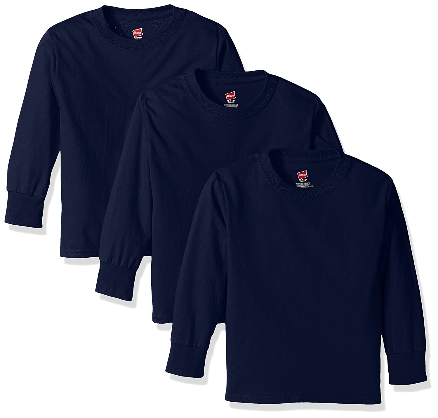 Hanes Big Boys' Tagless Long Sleeve Tee (Pack of 3) Hanes Branded Printwear O5546