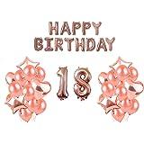 HorBous Oro Rosa Palloncini Decoration Compleanno Fete Soiree, Happy Birthday Lettere Palloncino, Pompa Palloncini, Palloncini Decoratifs, Lettere Palloncini per Feste di 18 Anni (A)