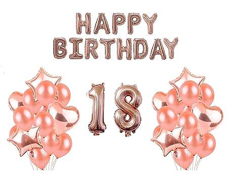 HorBous Oro Rosa Cumpleaños Globos Número 18, Globo Happy ...
