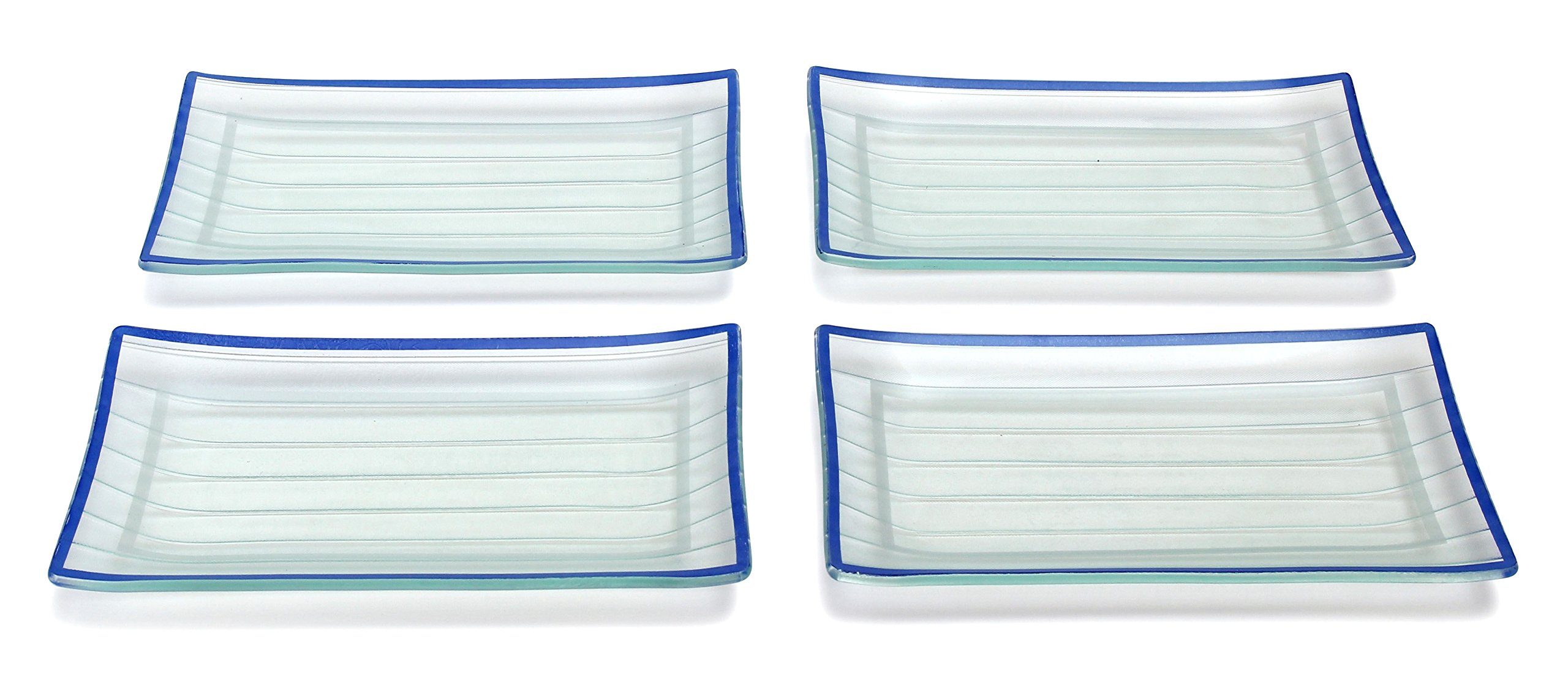 GAC Rectangular Tempered Glass Salad/Dessert Plate Set With Blue Trim, Service for 4, Break and Chip Resistant – Microwave and Oven Safe – Dishwasher Safe - Decorative Serving Plate