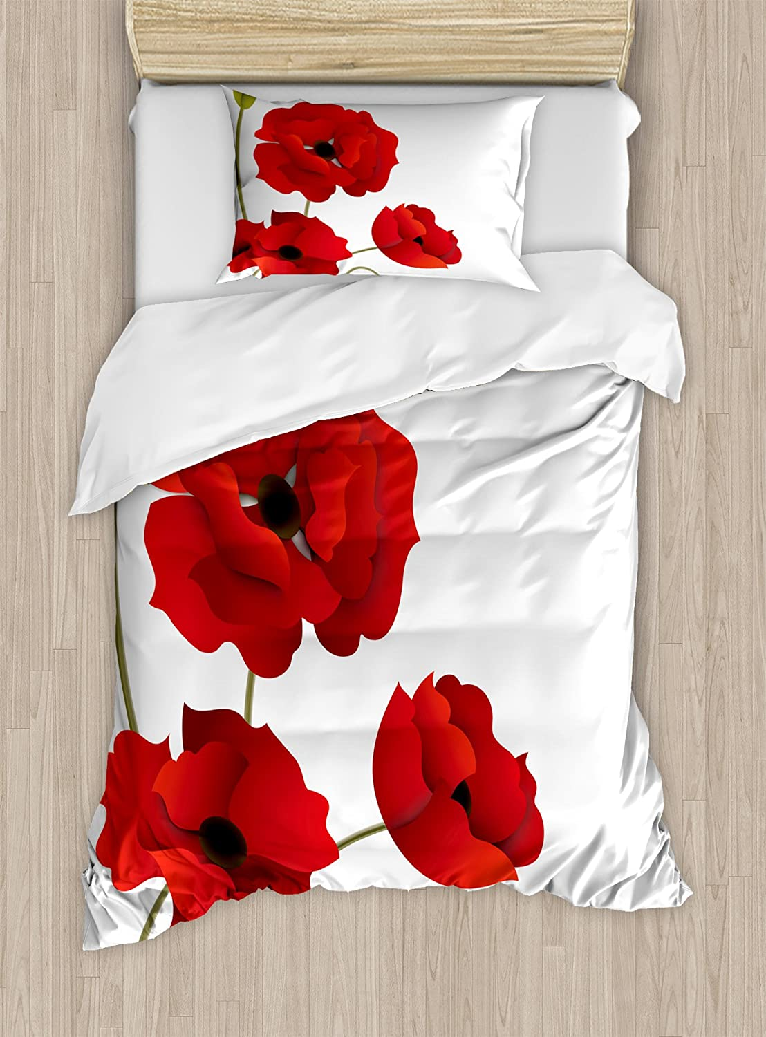 Ambesonne Floral Duvet Cover Set Twin Size, Poppy Flowers Vivid Petals with Buds Pastoral Purity Mother Earth Nature Design, Decorative 2 Piece Bedding Set with 1 Pillow Sham, Red Green