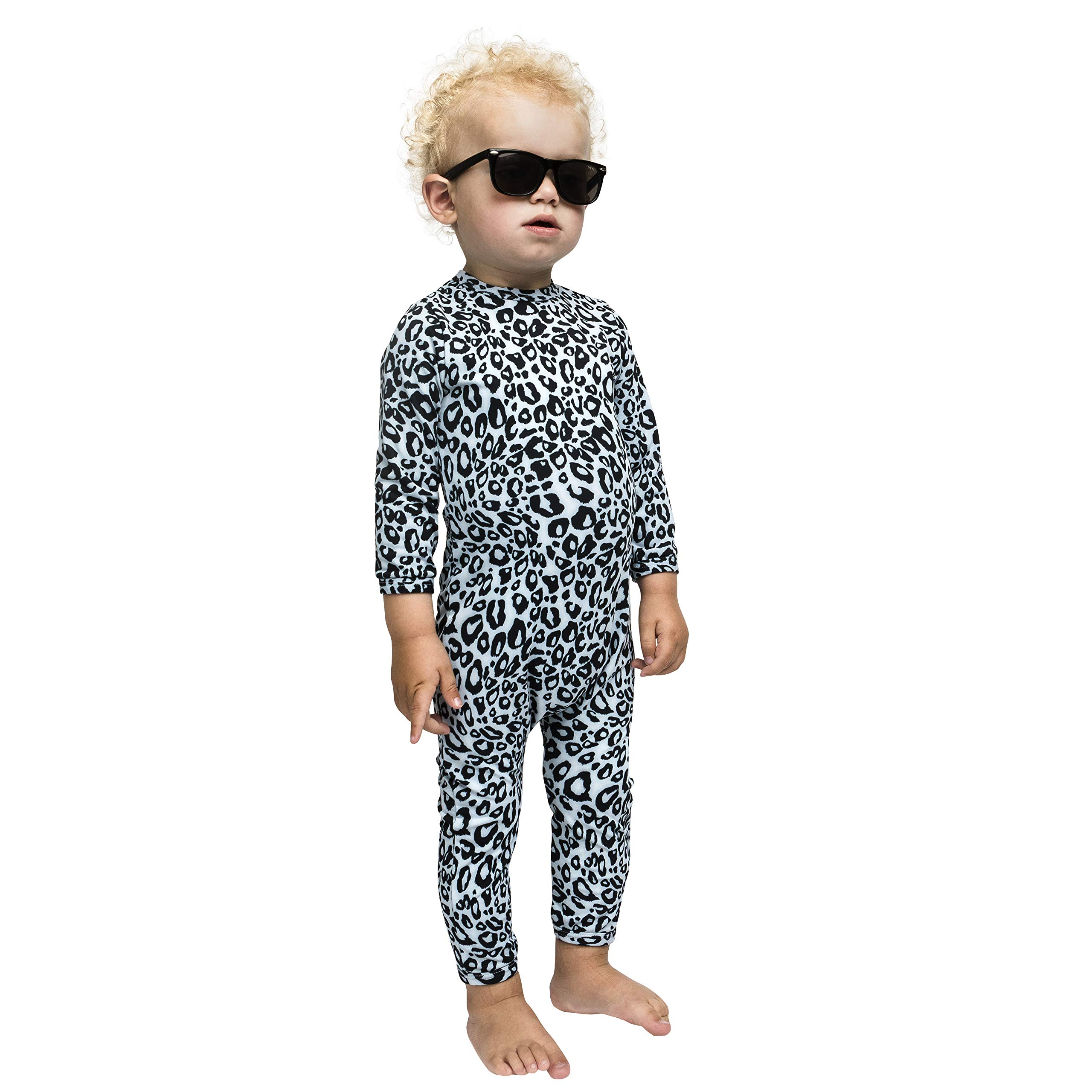 The Tiny Universe UV Protection Sunsuit Rash Guard, Long Sleeve - Unisex Baby Boys and Girls, Snow Leopard, SPF 50+ Swimsuit (Snow Leopard, 6-12 Months (80)) by The Tiny Universe