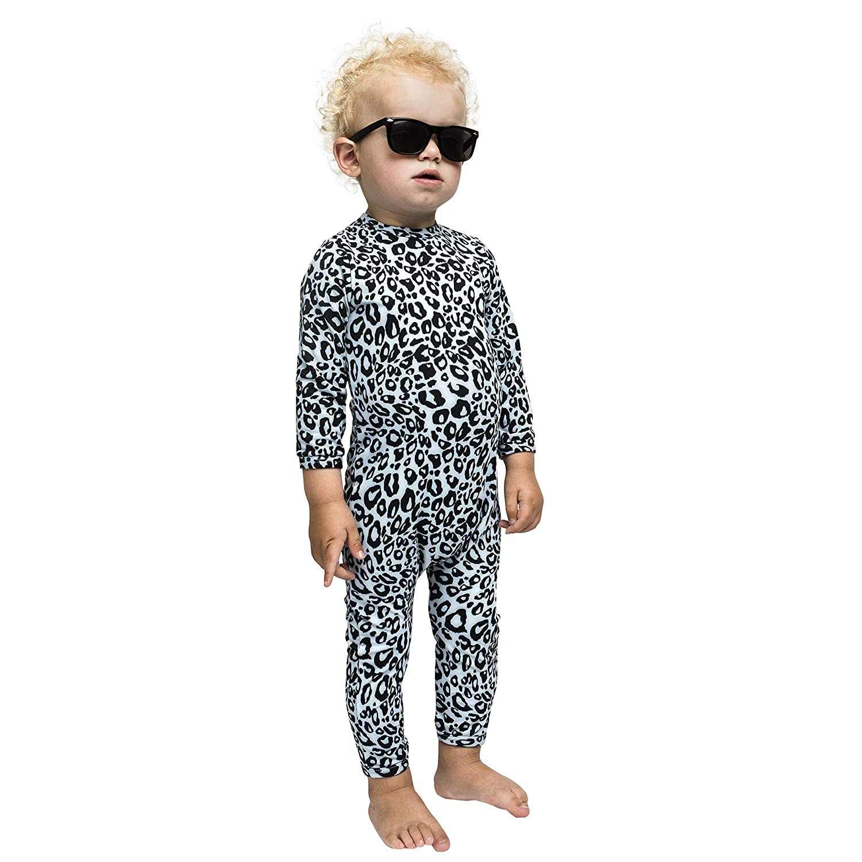 Snow Leopard UPF 50+ Swimsuit Long Sleeve Unisex Baby Boys and Girls The Tiny Universe UV Protection Sunsuit Rash Guard