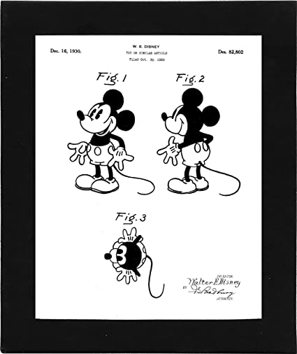 Amazon.com: Disney Mickey Mouse Toy Patent Poster Art - 8x10 Framed ...