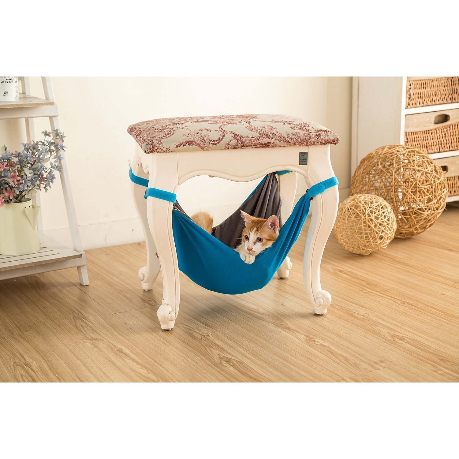 Cat Hammock Bed - Soft Warm and Comfortable Pet Hammock Use with Chair for Kitten, Ferret, Puppy, or Small Pet (Black) yuesheng