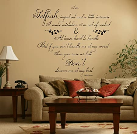 Marilyn Monroe Quote, Vinyl Wall Art Sticker Decal Mural,Bedroom ...