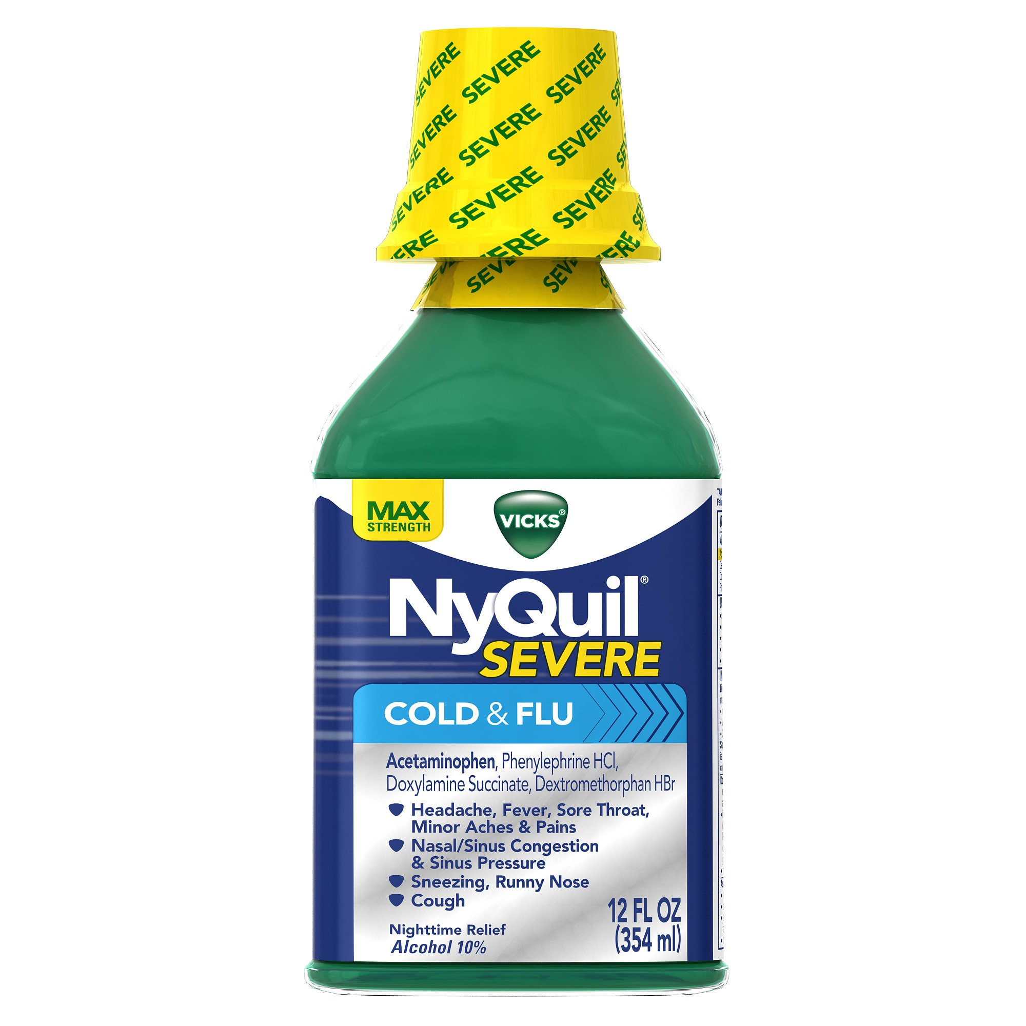 Vicks NyQuil Severe Cold & Flu Relief Original Flavor Liquid 12 Fl Oz (Pack of 6) by Vicks