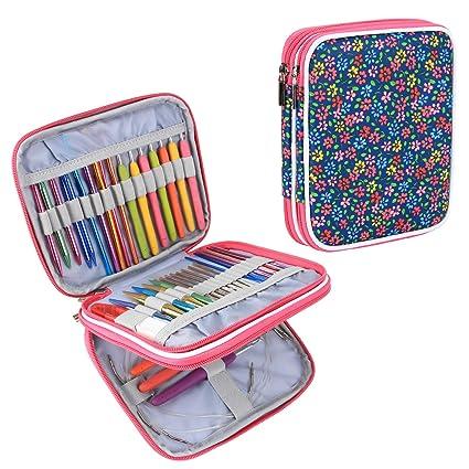 Teomoy Organizador para las agujas de tricotar circulares intercambiables, ganchos del ganchillo, ganchos de ganchillo de aluminio, accesorios que ...