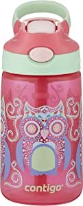 Contigo AUTOSPOUT Straw Gizmo Flip Kids Water Bottle, Sprinkles with Owl Parliament, 14 oz