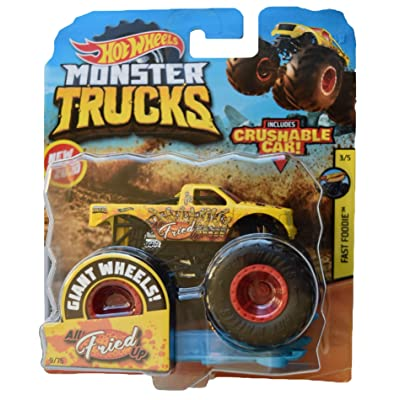 Hot Wheels Monster Trucks 1:64 Scale All Fried Up Crushable Car 9/75, Yellow: Toys & Games