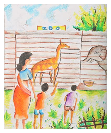 Rupa Art A Family In A Zoo Drawing Cotton 34 Cm X 42 Cm X 2 Cm
