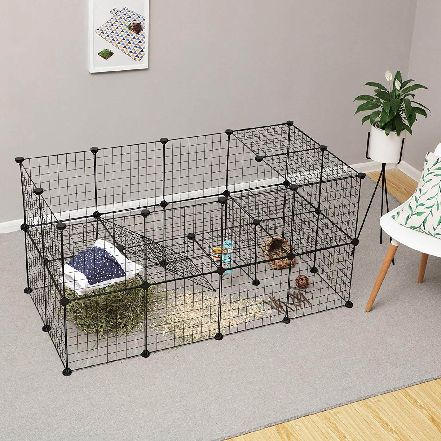 JYYG Small Pet Pen Bunny Cage Dogs Playpen Indoor Out Door Animal Fence Puppy Guinea Pigs, Dwarf Rabbits PET-F (36 Panels, Black) by JYYG (Image #5)