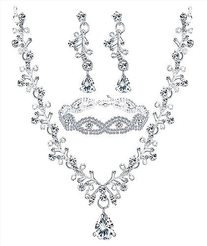 Neue Mode-stil Ohrringe Schmuck-set Neue Hochzeit Braut Blume Blatt Strass Kristall Halskette Für Frauen Geschenke Hochzeits- & Verlobungs-schmuck