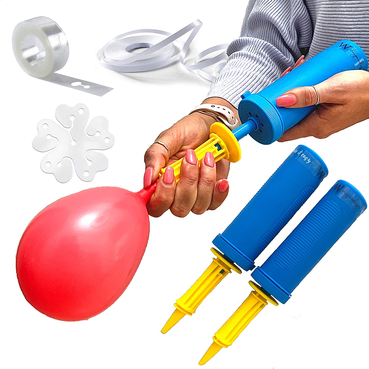 Party Hand Air Pump Balloon Swimming Ring Inflatable Easy /& Fast Toy inflator