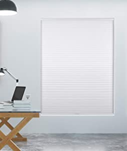 """Arlo Blinds Single Cell Room Darkening Cordless Cellular Shades, Color: White, Size: 69"""" W x 60"""" H"""