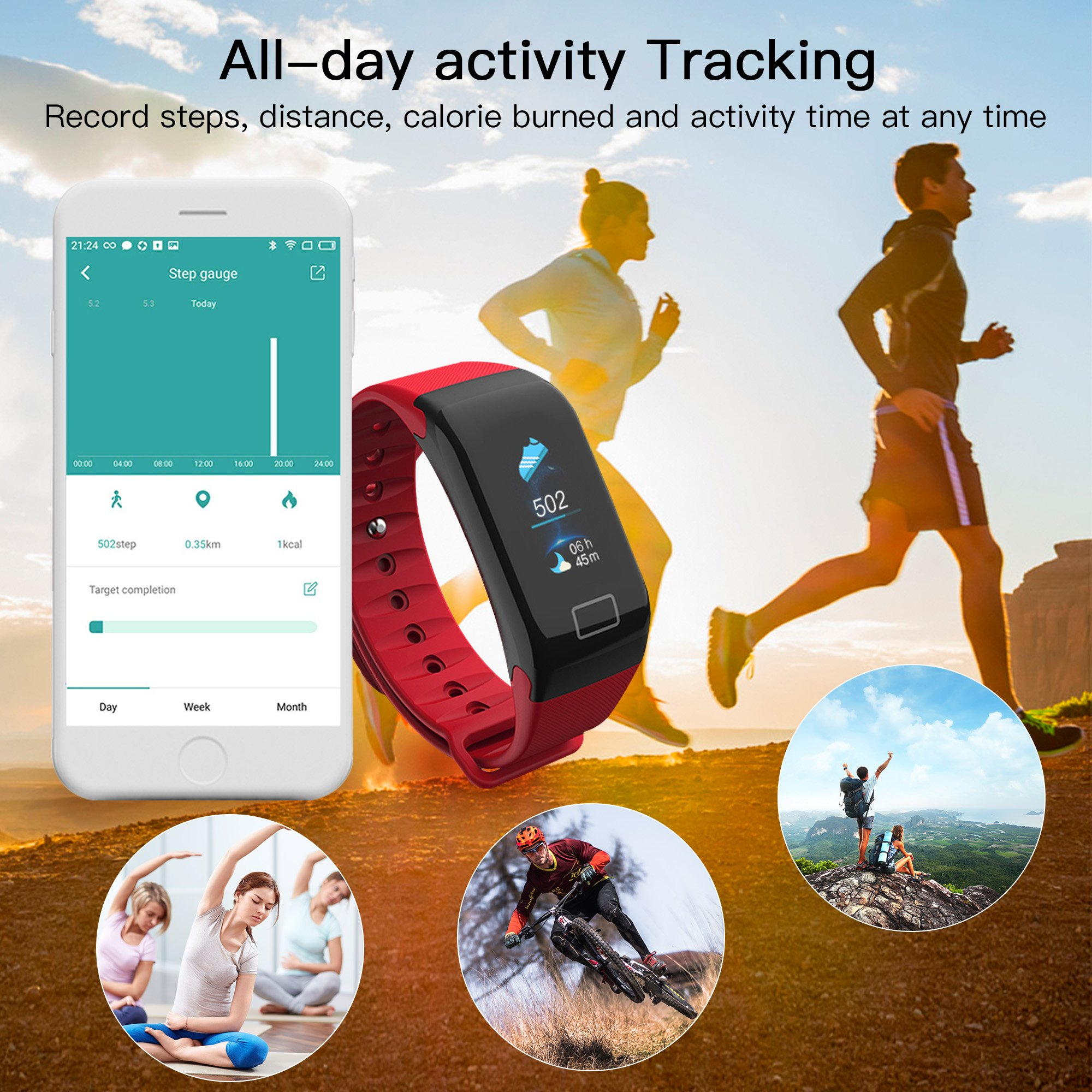 Cocofit Fitness Tracker with Heart Rate Monitor,IP67 Waterproof Fitness Watch,Smart Band,Activity Tracker Watch,Blood Pressure Monitor,Sleep Monitor,Calorie Step Distance Counter for Kids Women Men