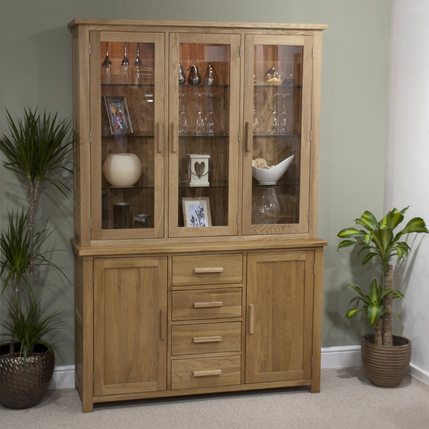 Eton Solid Oak Furniture Large Glazed Dresser Display Cabinet With Light Amazoncouk Kitchen Home