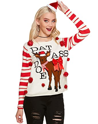 aa2b78822a76 Amazon.com  Spencer Gifts Ugly Christmas Sweater - Dat Ass Doe  Clothing