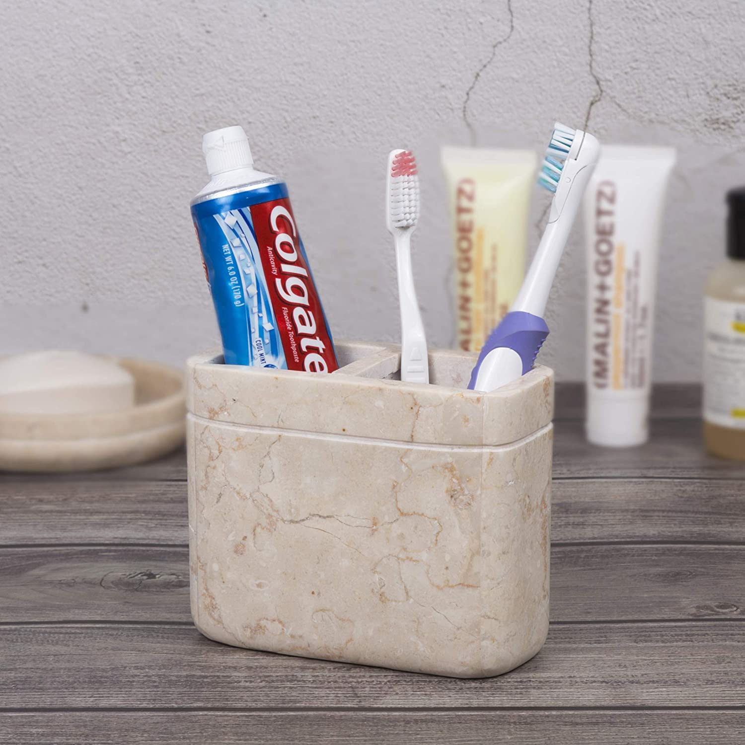 Creative Home Champagne Marble Stone Toothbrush Paste Holder