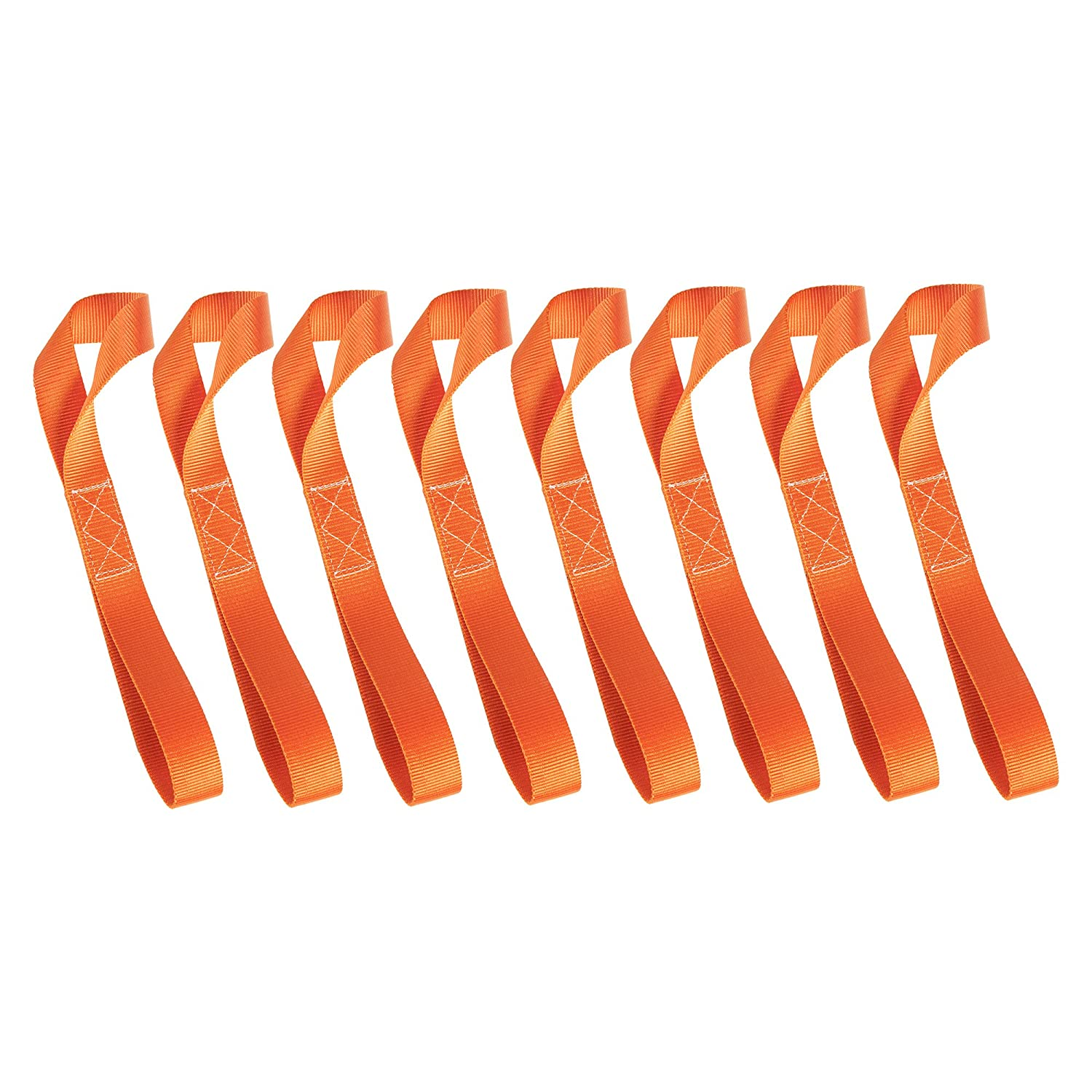 LITTOU 8 pcs 12 inch X 1 inch Soft Loops Tie Down Motorcycle Straps 2300 Lbs Break Strength Towing Ropes Prevent Scratches for Motorbike ATV UTV Dirt Bike Harley Heavy Duty - Orange