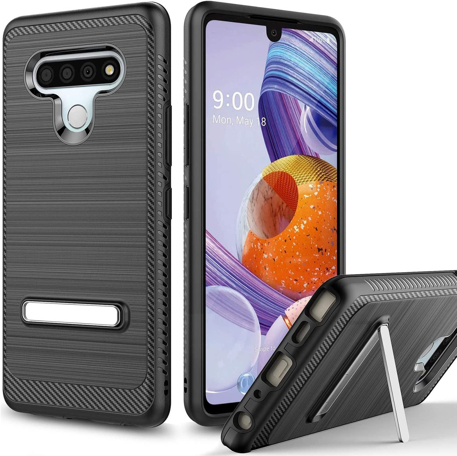 Androgate Designed for LG Stylo 6 Case with Kickstand, Hybrid Shockproof Raised Lip Protective Cover Bumper Case Compatible with LG Stylo 6, Black