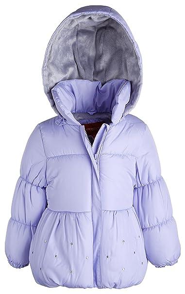 e7bd2addc London Fog Little Girls Warm Winter Puffer Jacket with Silky Fleece ...