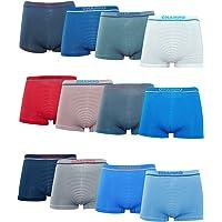 Channo Pack de 12 - Calzoncillos Boxer Lycra de niños sin Costuras con Rayas horizontales.