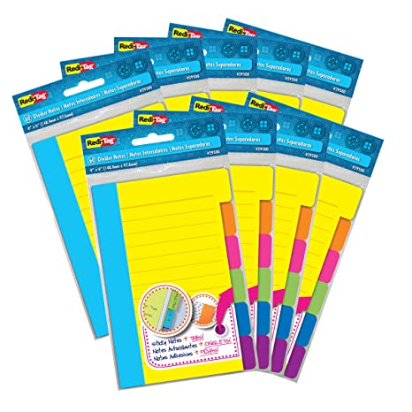 Redi-Tag Divider Sticky Notes, 60 Ruled Notes Per Pad, Neon, 4 x 6 Inches, 9 Pack (29509)