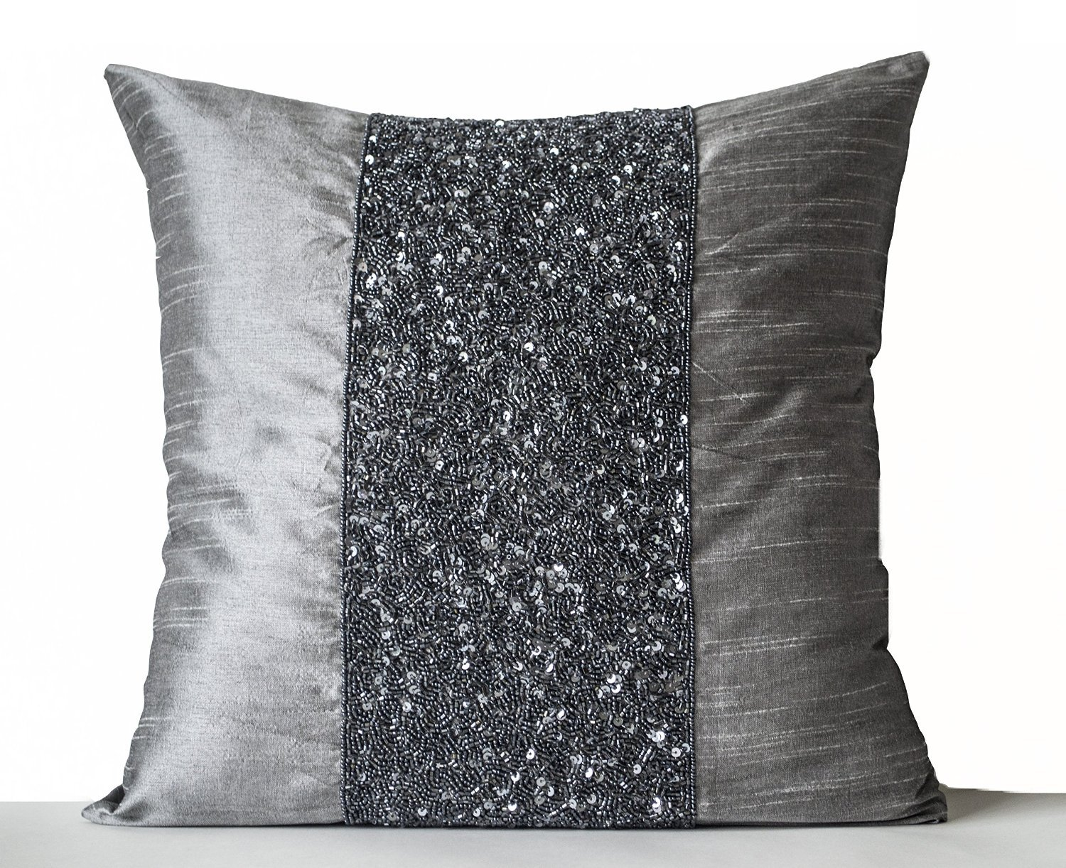 amazoncom amore beaute handcrafted grey beaded pillows grey  - amazoncom amore beaute handcrafted grey beaded pillows grey silkmetallic pillows grey sparkle pillow gray beads embroidered pillow cover gift