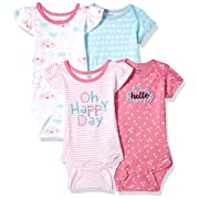 Gerber Baby Girls 4-Pack Short-Sleeve Onesies Bodysuit, Clouds, 0-3 Months