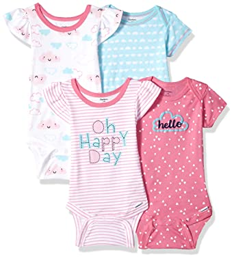 12dc9f32c Gerber Baby Girls 4-Pack Short-Sleeve Onesies Bodysuit, Clouds, Newborn