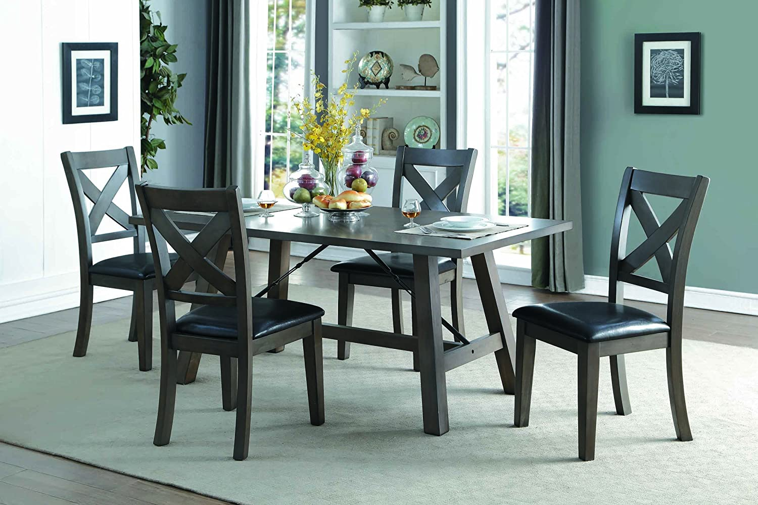 Amazon.com: Homelegance Seaford Dining Table Industrial Style, Gray ...