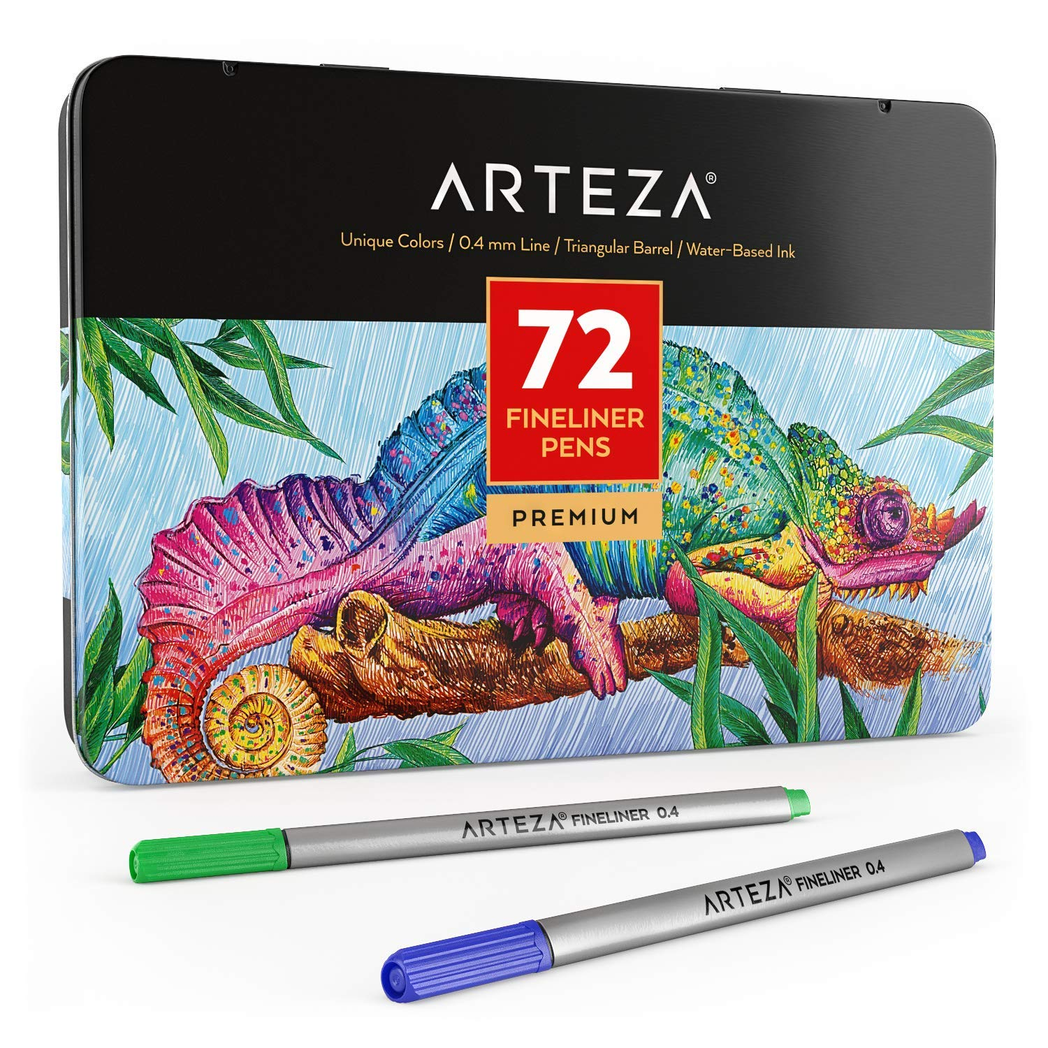 ARTEZA Fineliners Fine Point Pens, Set of 72 Fine Tip Markers with 0.4mm Tips & Sure Grip Ergonomic Barrels, Brilliant Assorted Colors for Coloring, Drawing & Detailing + Sturdy Metal Storage Case by ARTEZA (Image #1)