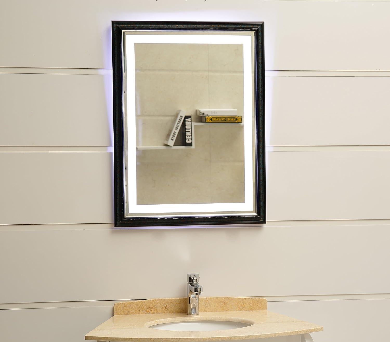 LED-Beleuchtung Wandspiegel mit Rahmen GS099N Lichtspiegel Badspiegel 80x60 cm