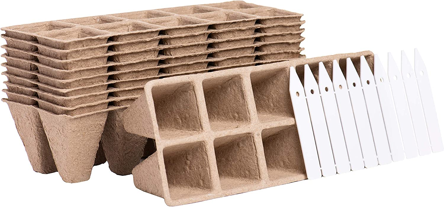 Garden Growers Seed Starter Trays – 10 Cell Peat Pot Germination Trays with Labels for Growing Seedlings and Herbs in Greenhouse or Nursery – Biodegradable Peat and Wood Fiber (10 Pack)