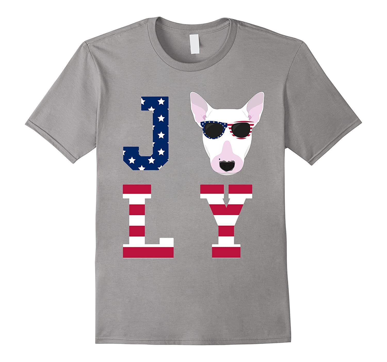 4th of July - Bull Terrier American Flag Dog T-Shirt-Art