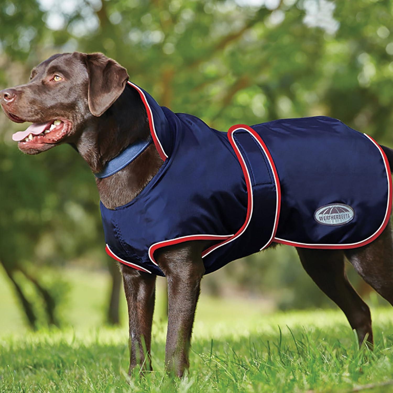 Weatherbeeta Hundemantel mit Bauchlatz, wasserdicht, Marineblau/Rot