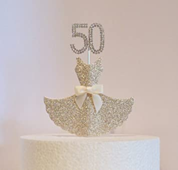 Admirable 50Th Birthday Cake Decoration Gold Dress With Diamante Crystal Funny Birthday Cards Online Barepcheapnameinfo