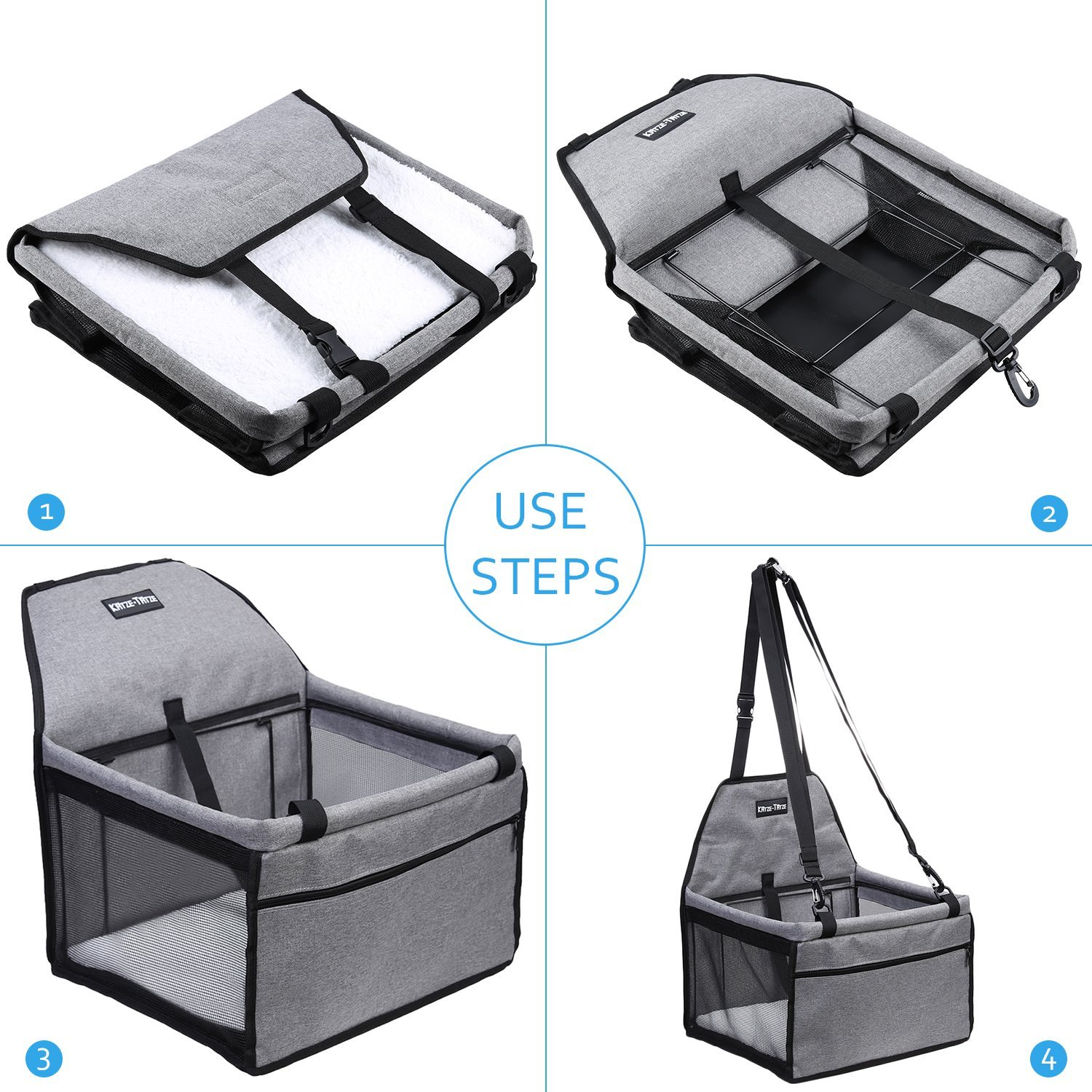 KatzeTatze Pet Car Booster Seat for Dogs Cats, Folding Waterproof Dog Car Seat, Breathable Mesh Design Travel Seat Protector Cover Pet Carrier Bag with Clip-On Safety Leash and Zipper Storage Pocket