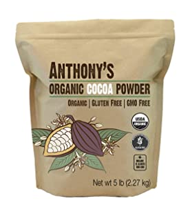 Anthony's Organic Raw Cocoa Powder, Cacao Powder, 5 lb, Batch Tested and Verified Gluten Free & Non GMO