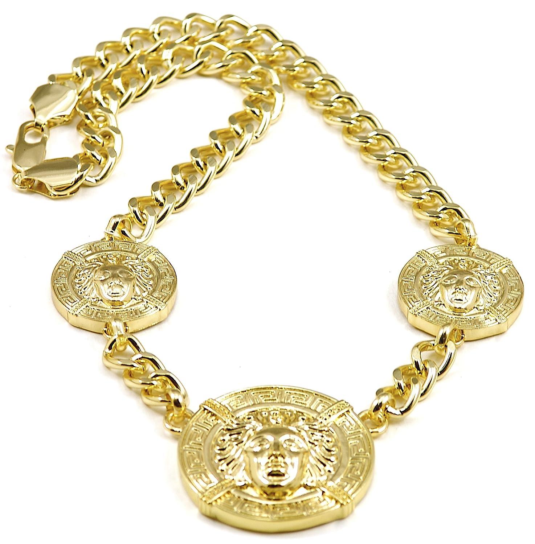 Amazon.com: Medusa Necklace New Triple Heads Gold Color Pendant ...