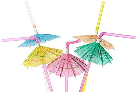 36 X Cocktail Umbrella Drinking Straw Assorted Party/BBQ/Hawaiian Theme  Straws