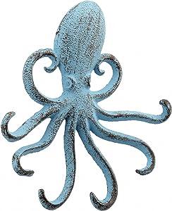 Stonebriar Decorative Cast Iron Octopus Multiple Hook Wall, BLUE