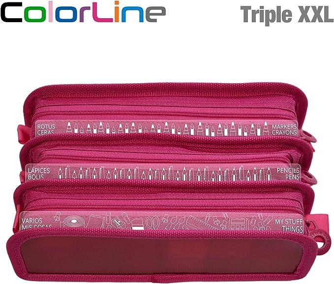Colorline 58611 - Estuche Portatodo Triple XXL con Fuelle Expandible de Gran Capacidad. Con Indicadores de uso Impresso en cada Apartado. Color Fucsia, Medidas 22 x 8 x 13 cm: Amazon.es: Oficina y papelería
