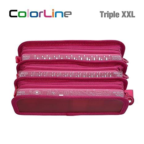 Colorline 58611 - Estuche Portatodo Triple XXL con Fuelle Expandible de Gran Capacidad. Con Indicadores de uso Impresso en cada Apartado. Color ...