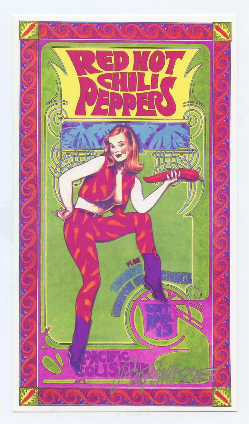 Red Hot Chili Peppers 1996 Apr 13 Vancouver Handbill Bob Masse
