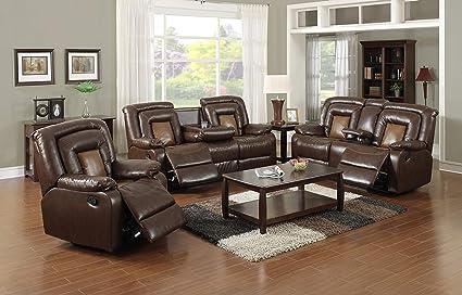 Amazon.com: Lifestyle Furniture Luxurious 3-Pieces Reclining ...