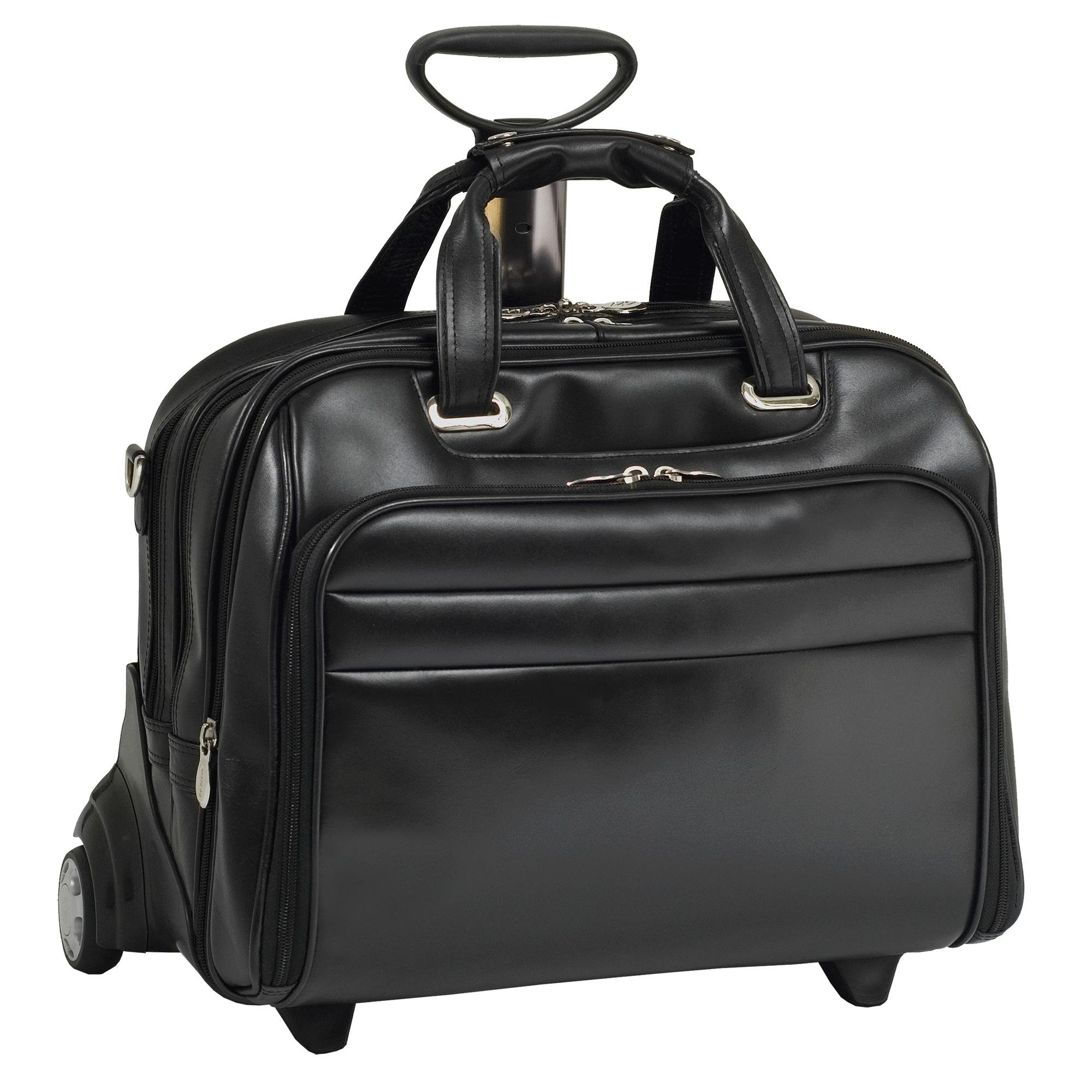 Mcklein USA 86605 Midway , 15.6'' Leather Check point friendly Detachable Wheeled Laptop Case