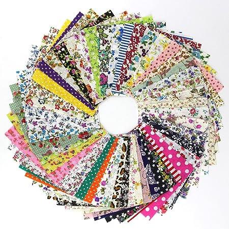 HONGY - 50 piezas de tela de patchwork, tela de algodón liso, estampados florales, cuadrados, costura, acolchados para manualidades, etc., No nulo, como se muestra en la imagen, 10 x 10 cm: Amazon.es: Hogar