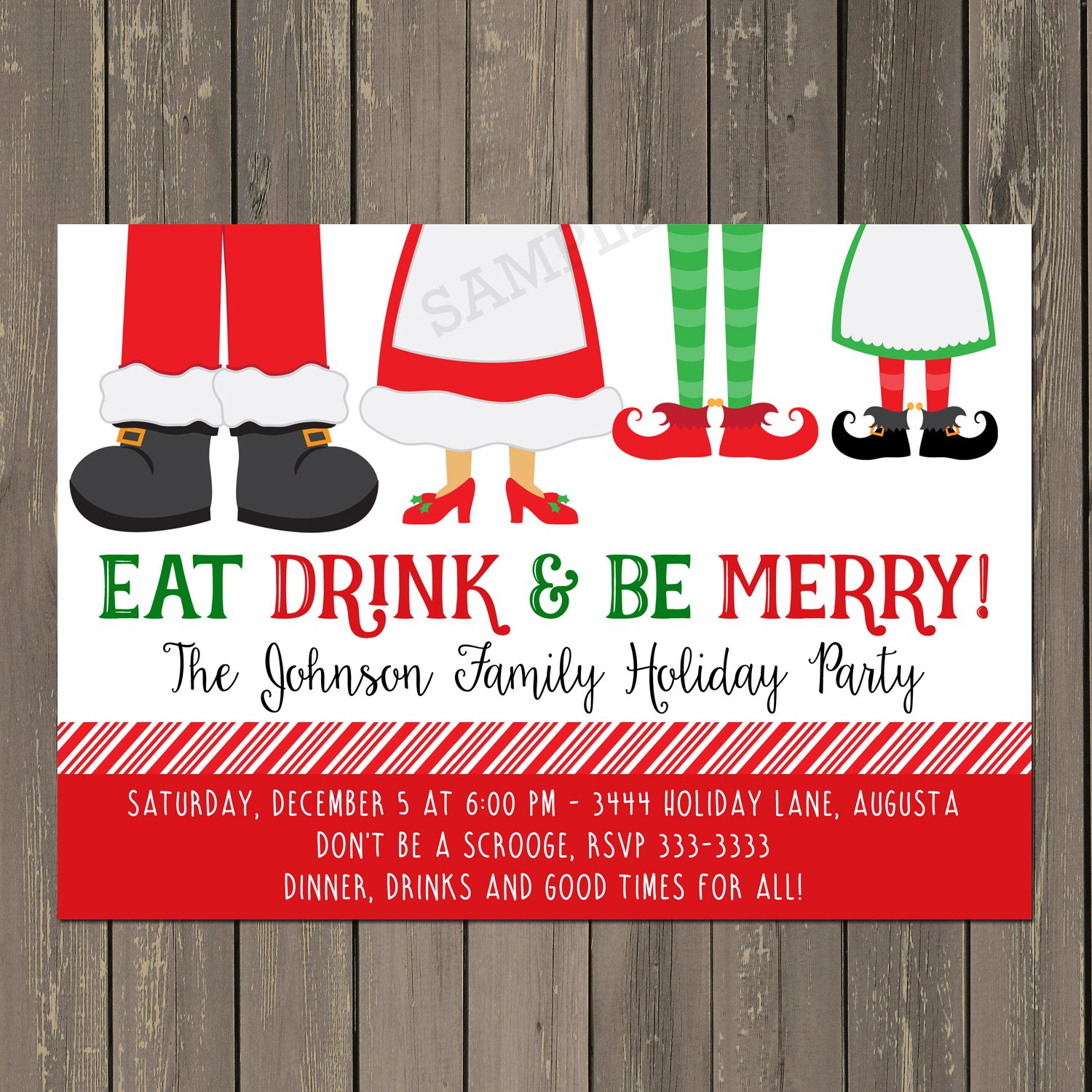 Amazon Eat Drink And Be Merry Holiday Party Invitation Funny